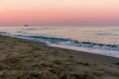 在海的日出颜色 图库摄影