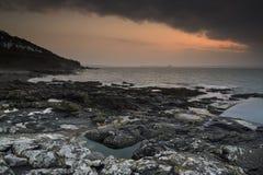 在海的日出风景 免版税图库摄影