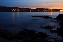在海的日落。普罗旺斯,法国 免版税库存照片