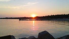 在海的日落在克罗地亚 图库摄影