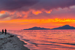 在海的日落在希腊 免版税库存照片