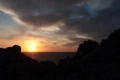 在海的日落在意大利 库存照片