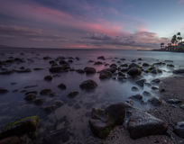 在海的日落毛伊的 免版税库存照片