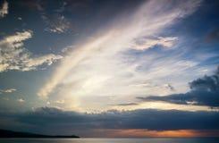 在海的日落蒙特哥贝的,牙买加 免版税图库摄影