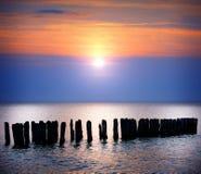 在海的日落 免版税图库摄影