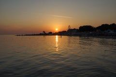 在海的晚上 免版税库存图片