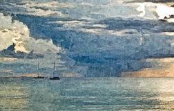 在海的晚上 ?? r o r : 免版税库存照片