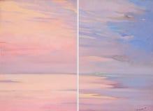 在海的桃红色黎明,绘画,例证 库存例证