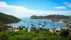 在海的渔船在越南 库存照片