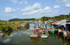 在海的渔船在Phu Quoc,越南 免版税库存图片