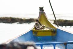 在海的渔船钓鱼死水区域背景和背景的地方 免版税图库摄影