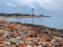 在海的灯塔 库存图片