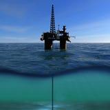 在海的石油平台 库存例证