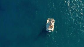 在海的筏航行 筏航行的空中射击在风的 股票视频