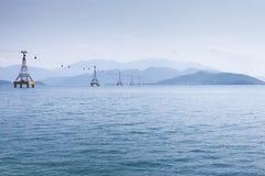 在海的缆车 库存图片