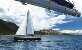 在海的美丽的风船 自然 免版税库存照片