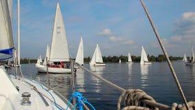 在海的美好的夏日,乘快艇,航行,冒险 股票视频