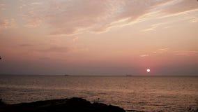 在海的美好的金黄日落日出,完全安静,飞行海鸥 影视素材