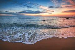 在海的美好的cloudscape,日出射击 免版税库存照片