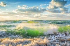 在海的美好的cloudscape,日落射击 库存图片