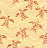 在海的背景的乌龟装饰品挥动 Mehndi样式 免版税图库摄影