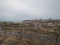 在海的阿克套市 库存图片