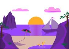 在海的紫色日落 免版税图库摄影