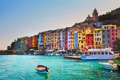 在海的Portovenere村庄 Cinque terre, Ligury意大利 免版税库存照片
