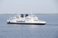 在海的Scandlines轮渡 免版税库存图片