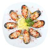 在海盐顶视图的淡菜 库存照片