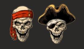 在海盗的头骨有衣裳的注视补丁,上尉帽子,班丹纳花绸 葡萄酒板刻 免版税库存照片