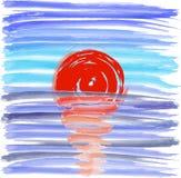 在海背景的日落,传染媒介例证 库存照片