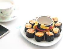 在海草虾的软的焦点与调味汁粤式点心 图库摄影