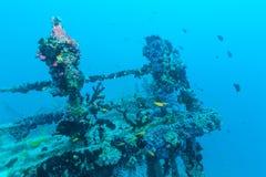 在海蓝色,马尔代夫的海难 库存照片