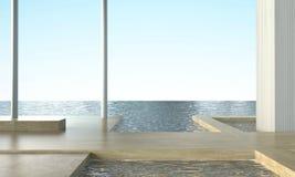在海视图和天空的现代简单的海滩休息室顶楼和Sundeck位子 皇族释放例证
