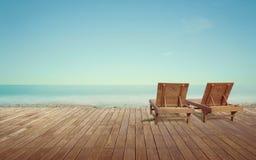 在海视图的Sundeck为假期 免版税库存照片