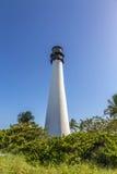在海角佛罗里达的著名灯塔在Key Biscayne 库存照片