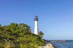 在海角佛罗里达的著名灯塔在Key Biscayne 免版税库存照片