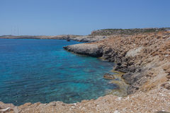 在海角格雷科的多岩石的海滩 库存图片