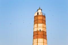 在海角沙布拉的灯塔在黑海海岸 库存照片