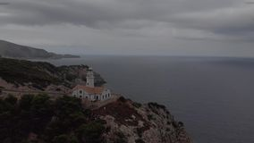 在海角福门特拉岛的灯塔在北部马略卡,西班牙海岸  艺术性的日出和黄昏landascape 影视素材