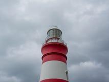 在海角Alguhas的历史的灯塔在南非 免版税库存照片