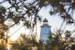 在海角Besov没有的灯塔,奥涅加湖岸 免版税库存图片