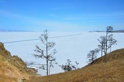 在海角Burkhan的天在贝加尔湖 Khuzhir村庄, Olkhon海岛 库存照片
