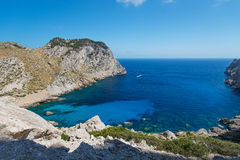 在海角Formentor附近的海岸在Mallorca西班牙 库存图片