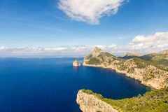 在海角Formentor,马略卡,西班牙的海风景 免版税库存图片