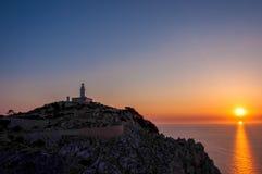 在海角Formentor,马略卡,西班牙的灯塔 免版税库存图片