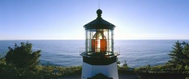 在海角Meares灯塔的日落 免版税图库摄影