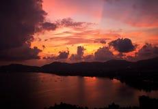 在海角Panwa的日落焕发 库存照片