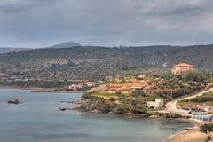 在海角Sounio的希腊海岸 库存照片